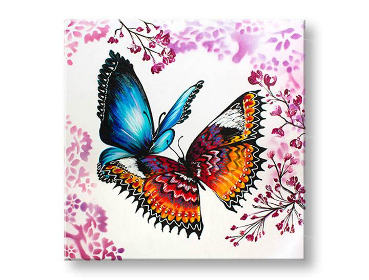 Ručne maľovaný obraz na stenu MOTÝLE 1 dielny YOBAM005E1