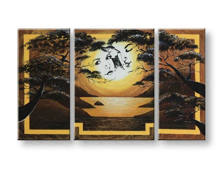 Maľovaný obraz na stenu DeLUXE - LÁSKA 3 dielny 024D3 (3 dielny maľovaný obraz )
