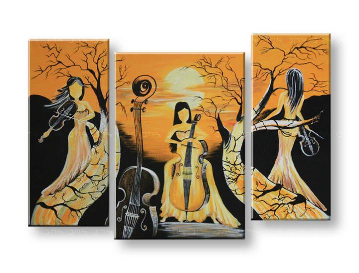 Maľovaný obraz na stenu DeLUXE - ŽENY 3 dielny 030D3 (3 dielny maľovaný obraz )