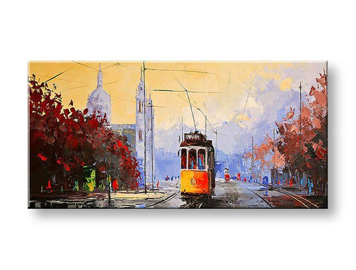 Maľovaný obraz na stenu MESTO FB018E1 (maľované obrazy FABIO)