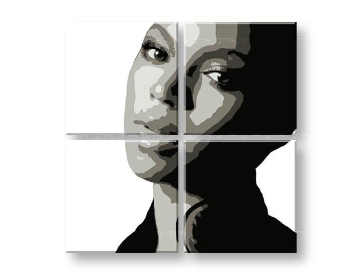 Ručne maľovaný POP Art obraz BEYONCÉ 4 dielny bey (POP ART obrazy)