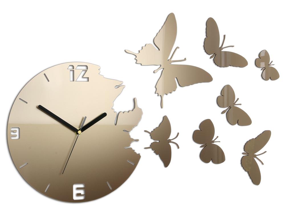 Moderné nástenné hodiny MOTÝLE TORTORA HMCNH003-tortora (nalepovacie hodiny na stenu)