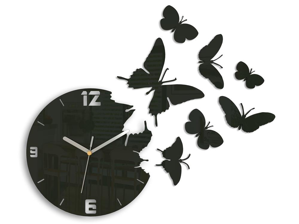 Moderné nástenné hodiny MOTÝLE WENGE HMCNH003-wenge (nalepovacie hodiny na stenu)