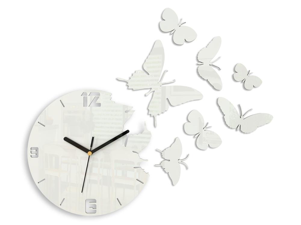 Moderné nástenné hodiny MOTÝLE WHITE HMCNH003-white (nalepovacie hodiny na stenu)