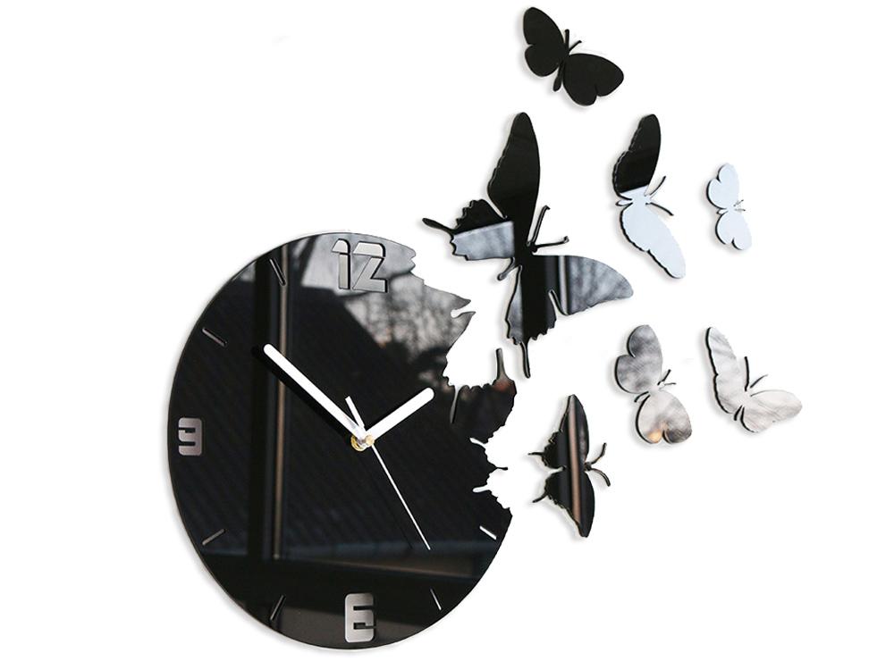 Moderné nástenné hodiny MOTÝLE NH003 (nalepovacie hodiny na stenu)
