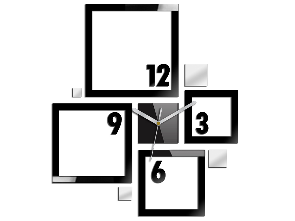 Moderné nástenné hodiny QUADRAT NH006 (samolepiace hodiny na stenu)