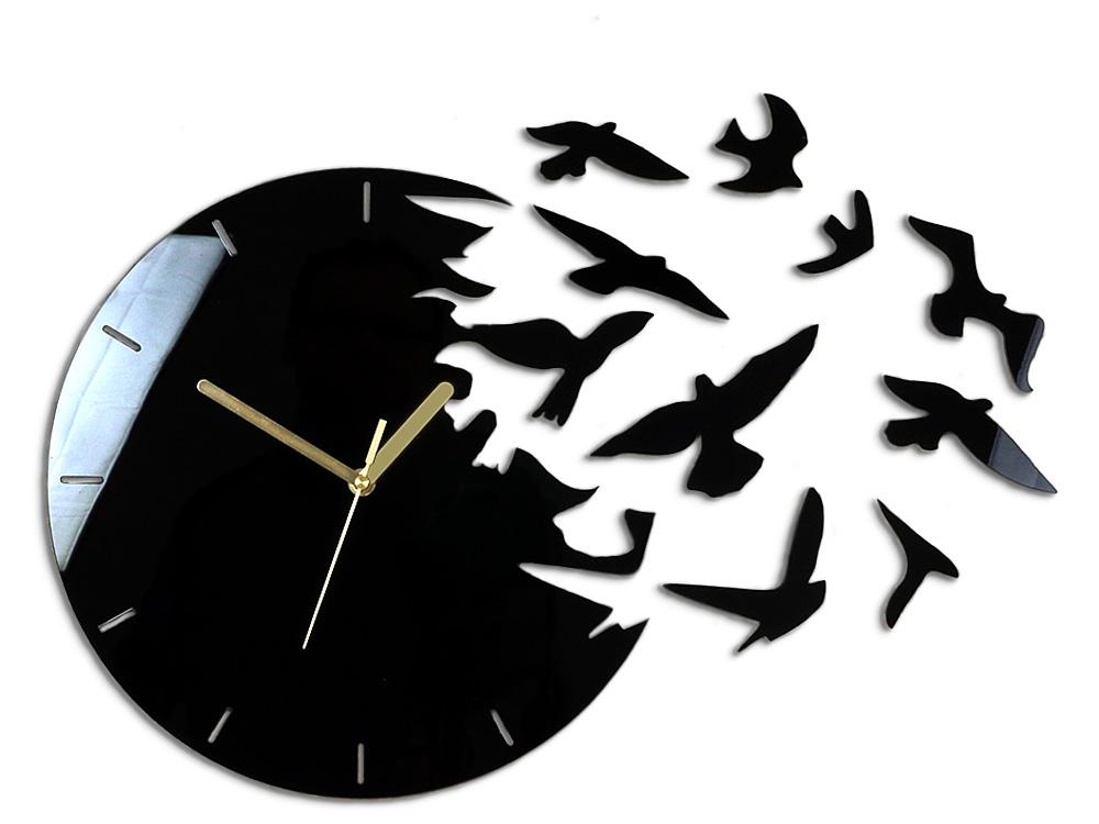 Moderné nástenné hodiny RAJSKÉ VTÁKY NH007 (nalepovacie hodiny na stenu)