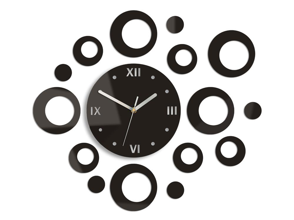 Moderné nástenné hodiny RINGS WENGE HMCNH008-wenge (nalepovacie hodiny na stenu)