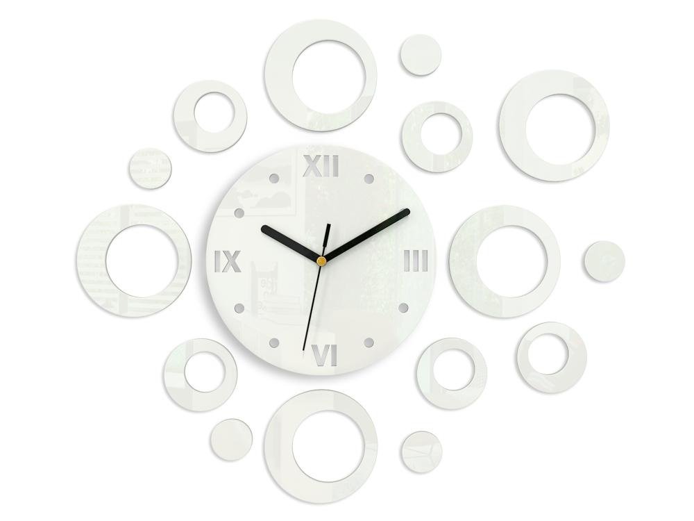Moderné nástenné hodiny RINGS WHITE HMCNH008-white (nalepovacie hodiny na stenu)