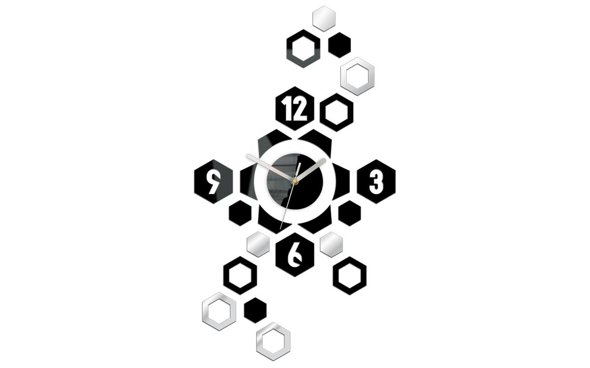 Moderné nástenné hodiny HEXAGON NH018 (nalepovacie hodiny na stenu)