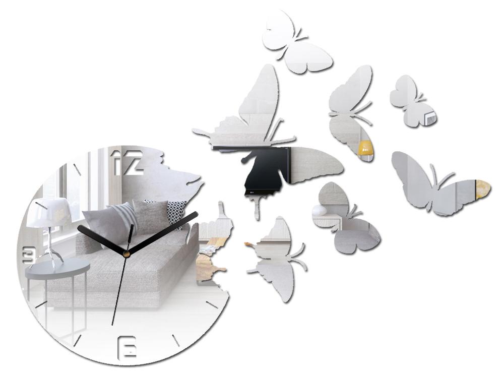 Moderné nástenné hodiny MIRROR BUTTERFLIES NH025 (nalepovacie hodiny na stenu)