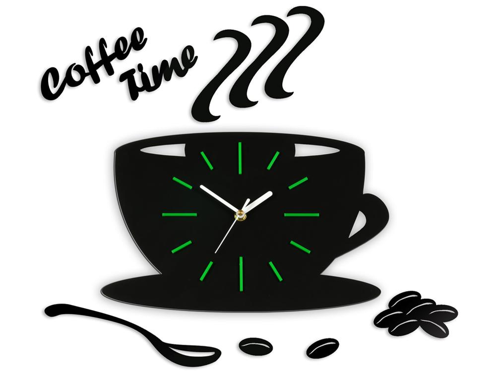 Moderné nástenné hodiny Green Satin Cup NH039 (nalepovacie hodiny na stenu)