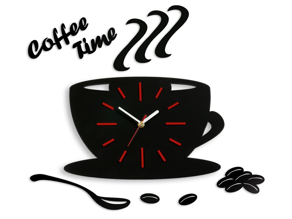 Moderné nástenné hodiny Red Satin Cup NH041 (nalepovacie hodiny na stenu)