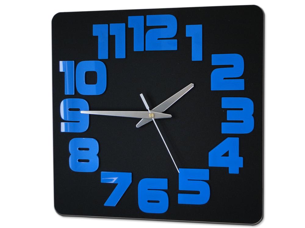 Moderné nástenné hodiny LOGIC BLACK-BLUE HMCNH047-blackblue (nalepovacie hodiny na stenu)