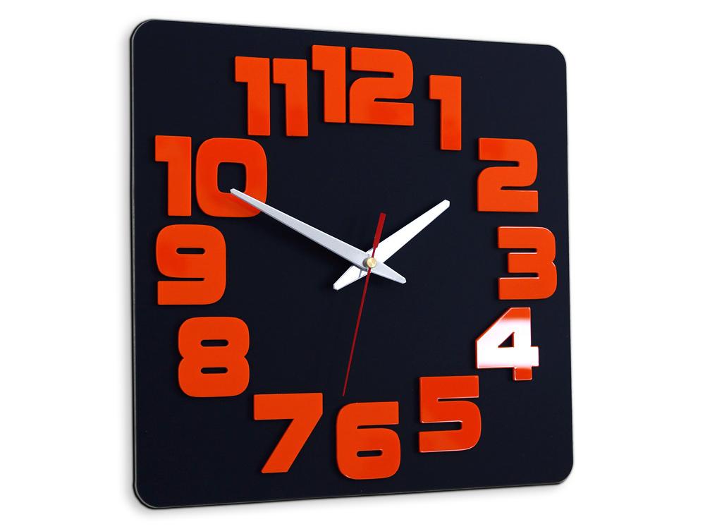 Moderné nástenné hodiny LOGIC BLACK-ORANGE HMCNH047-blackorange (nalepovacie hodiny na stenu)