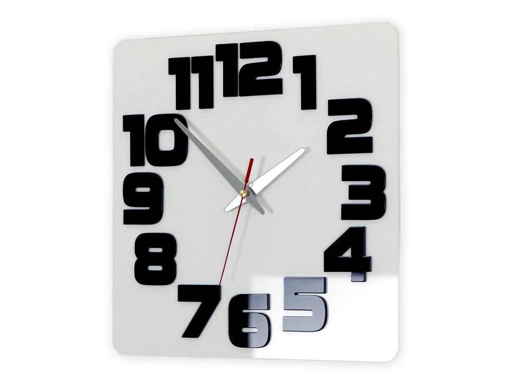 Moderné nástenné hodiny LOGIC WHITE-BLACK HMCNH047-whiteblack (nalepovacie hodiny na stenu)