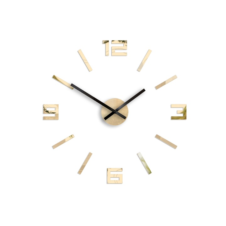 Moderné nástenné hodiny ARABIC GOLD-MIRROR HMCNH056-goldmirror (nalepovacie hodiny na stenu)