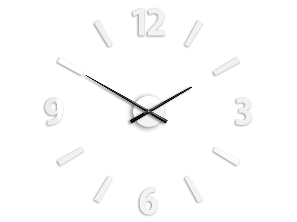 Moderné nástenné hodiny KLAUS WHITE HMCNH061-white (nalepovacie hodiny na stenu)