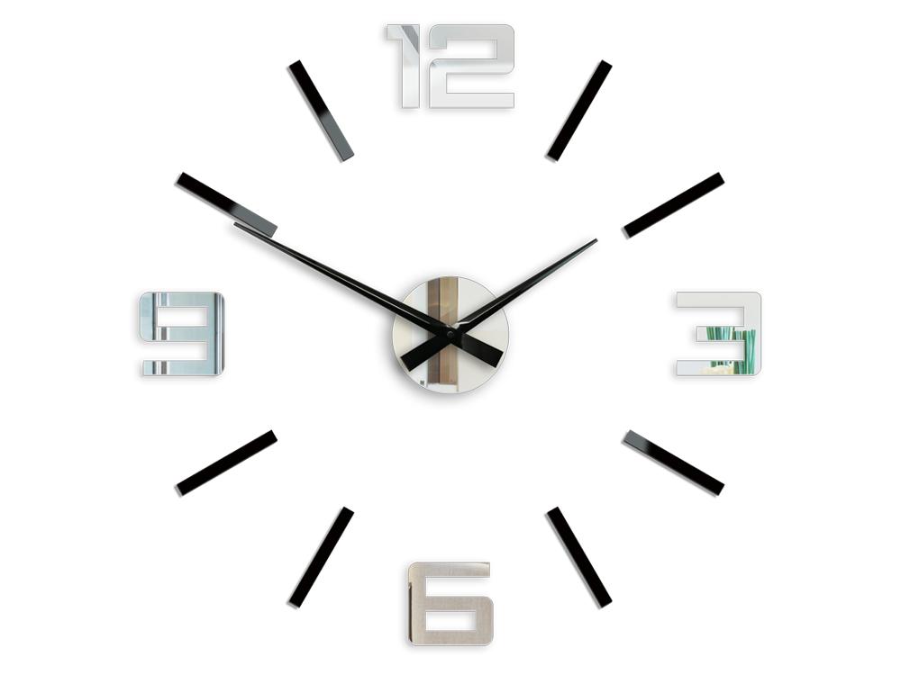 Moderné nástenné hodiny SILVER XL BLACK-MIRROR HMCNH065-blackmirror (nalepovacie hodiny na stenu)