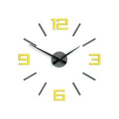 87928176cee Moderné nástenné hodiny SILVER XL GREY-YELLOW HMCNH065-greyyellow empty