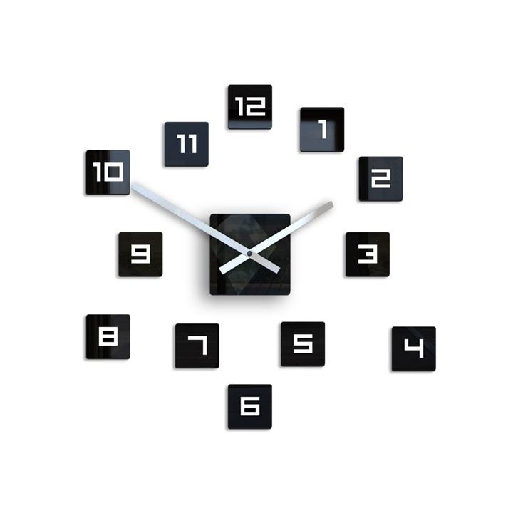 Moderné nástenné hodiny CUBE HMCNH068 (nalepovacie hodiny na stenu)