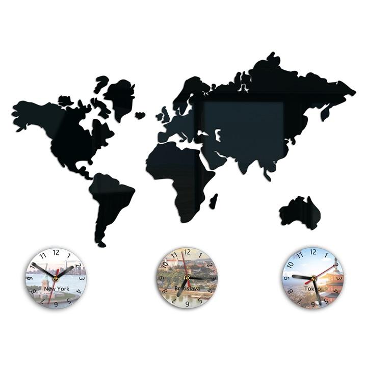 Moderné nástenné hodiny WORLD MAP HMCNH070 (nalepovacie hodiny na stenu)