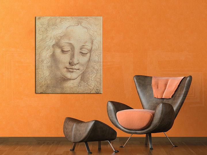 Obraz na plátne HLAVA ŽENY 3 – Leonardo Da Vinci REP176 (reprodukcia 70x60 cm)
