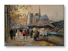 Obraz na plátne BOOK SELLERS ALONG THE SEINE  – Edouard Leon Cortes REP030